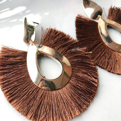 kolczyki materiał 500x500 - KOLCZYKI ROUND BROWN