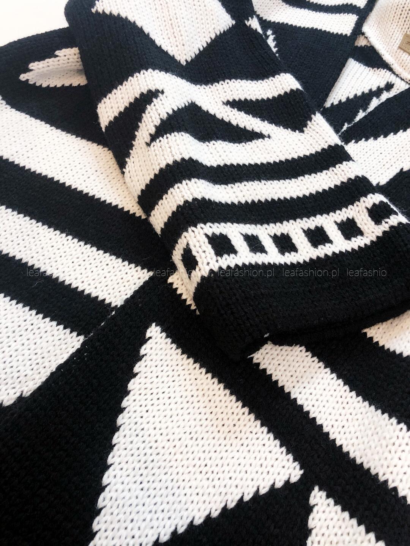 sweterek długi - SWETER LONG BLACK & WHITE