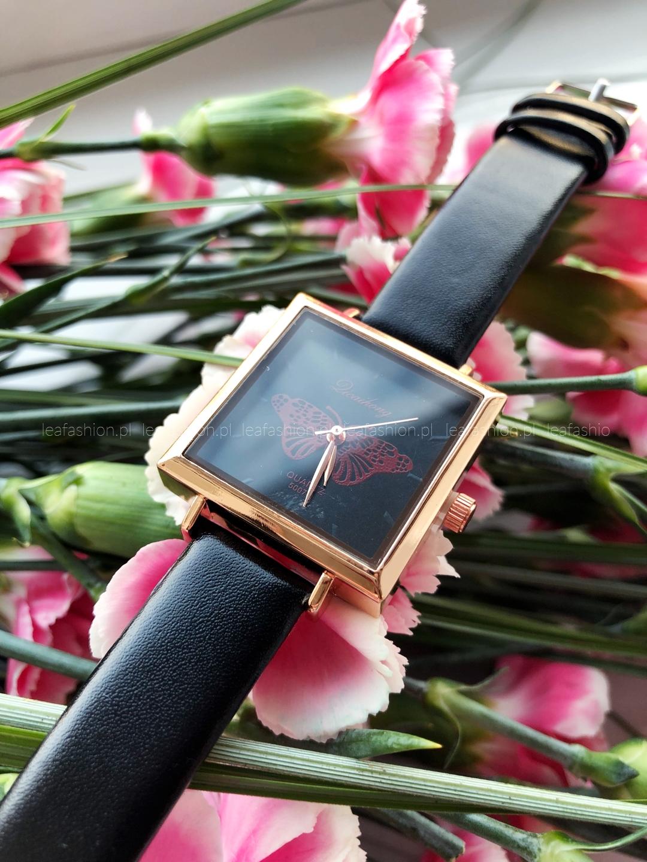 zegarek0prostokąt - ZEGAREK BUTTERFLY BLACK