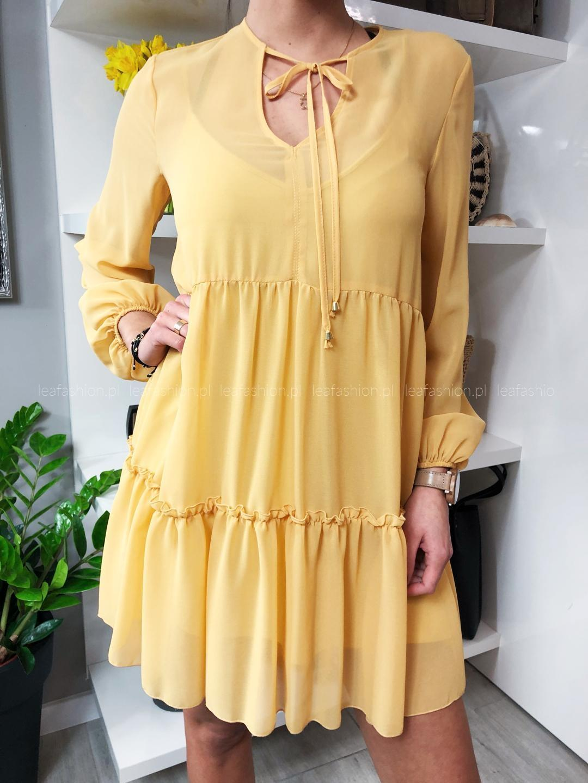 luźna sukienka musztardowa - SUKIENKA JOY ŻÓŁTA