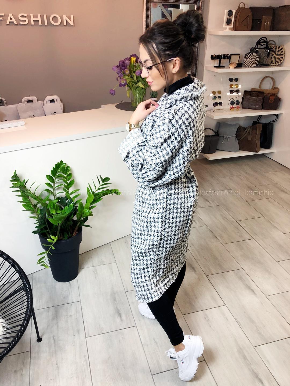 płaszcz biało czarna pepitka - PŁASZCZ RETRO & ICONE BIAŁO-CZARNA PEPITKA