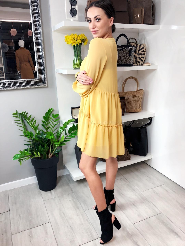 sukienka zółto musztardowa - SUKIENKA JOY ŻÓŁTA