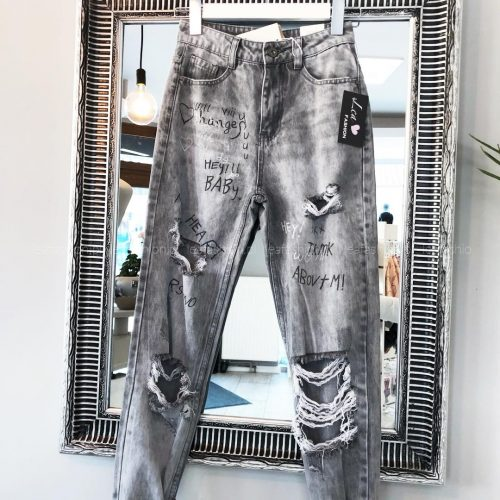 luźne spodnie z dziurami