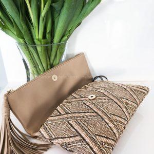 torebka beżowo słomiana
