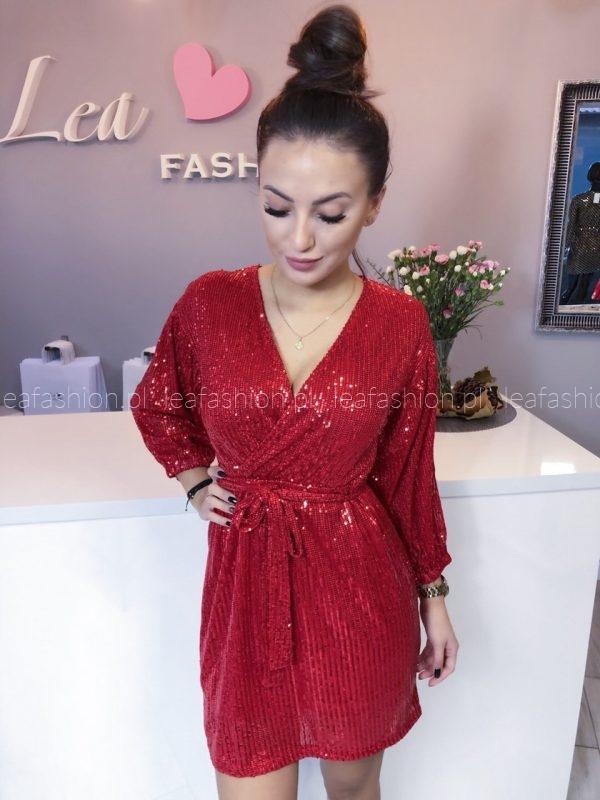 sukienka cekiny czerwona